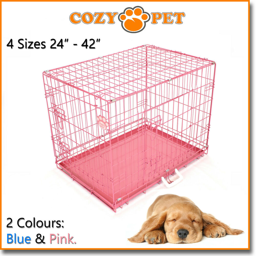 Dog Cage In Pink And Blue Cozy Pet Dog Crate Puppy 3 Sizes