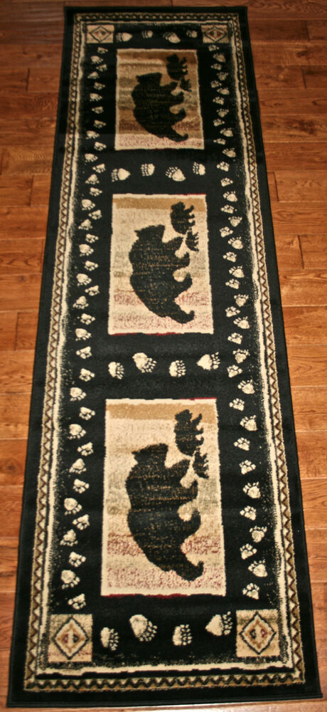 2x8 cabin lodge bear paws cubs black print hallway runner rug rugs new beautiful ebay. Black Bedroom Furniture Sets. Home Design Ideas