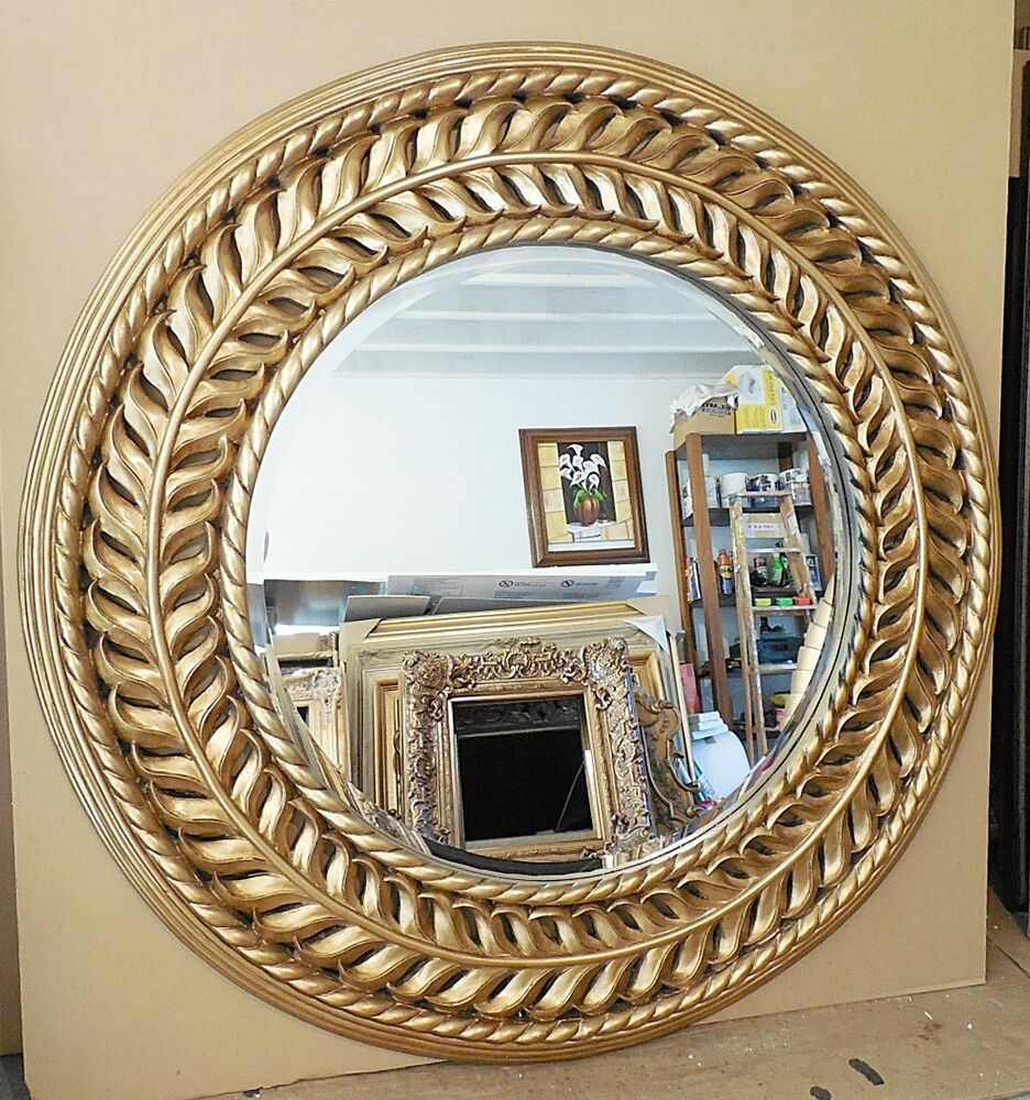 Large hand carved solid wood 47 round beveled framed wall Round framed mirror