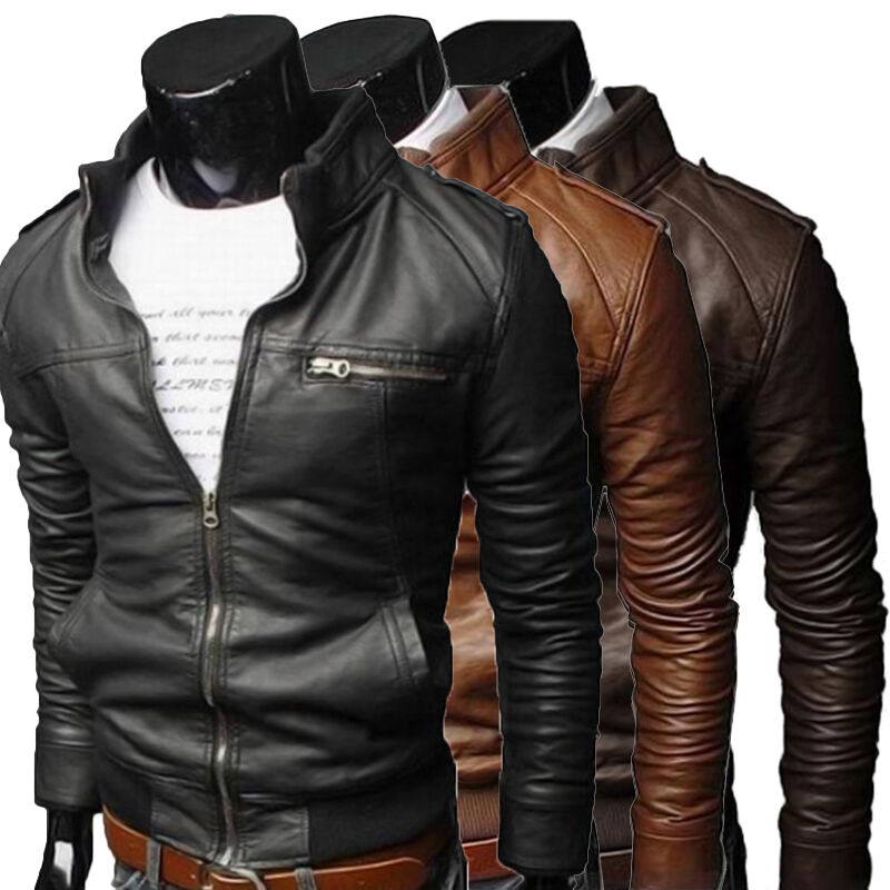 New Men 39 S Fashion Jackets Collar Slim Motorcycle Leather Jacket Coat Outwears Ebay
