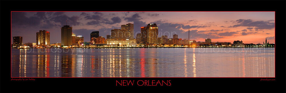 New Orleans Skyline Dusk Photograph Print Poster Photo