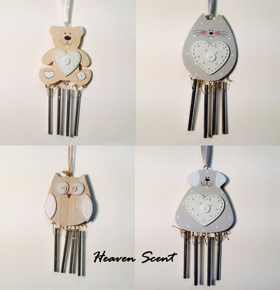 Animal wooden wind chimes birthday gift ideas for her for Wind chime design ideas