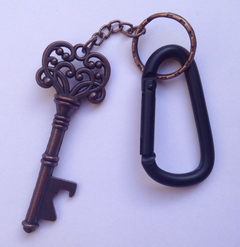 new copper antique key bottle opener black carabiner keychain clip gift us ebay. Black Bedroom Furniture Sets. Home Design Ideas