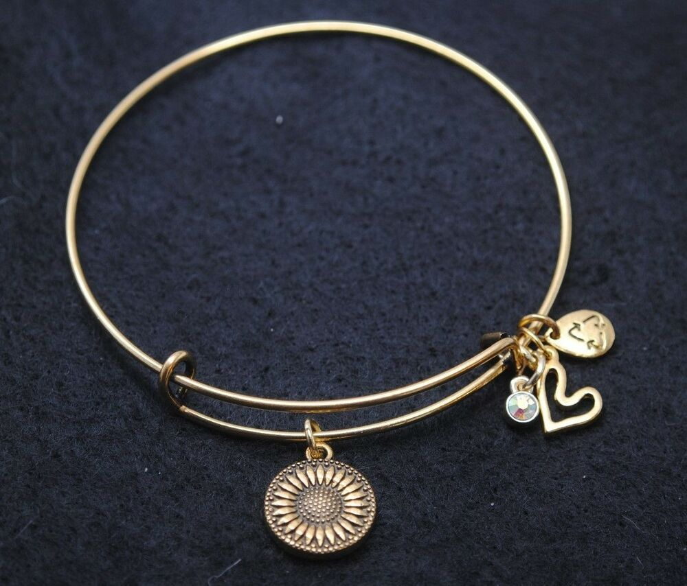 Expandable Wire BANGLE Antique Gold Charm BRACELET