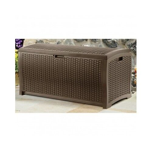 Patio Deck Box Suncast Resin Wicker Furniture Storage