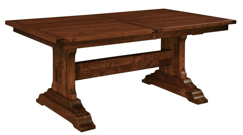 amish rustic plank manchester trestle dining table