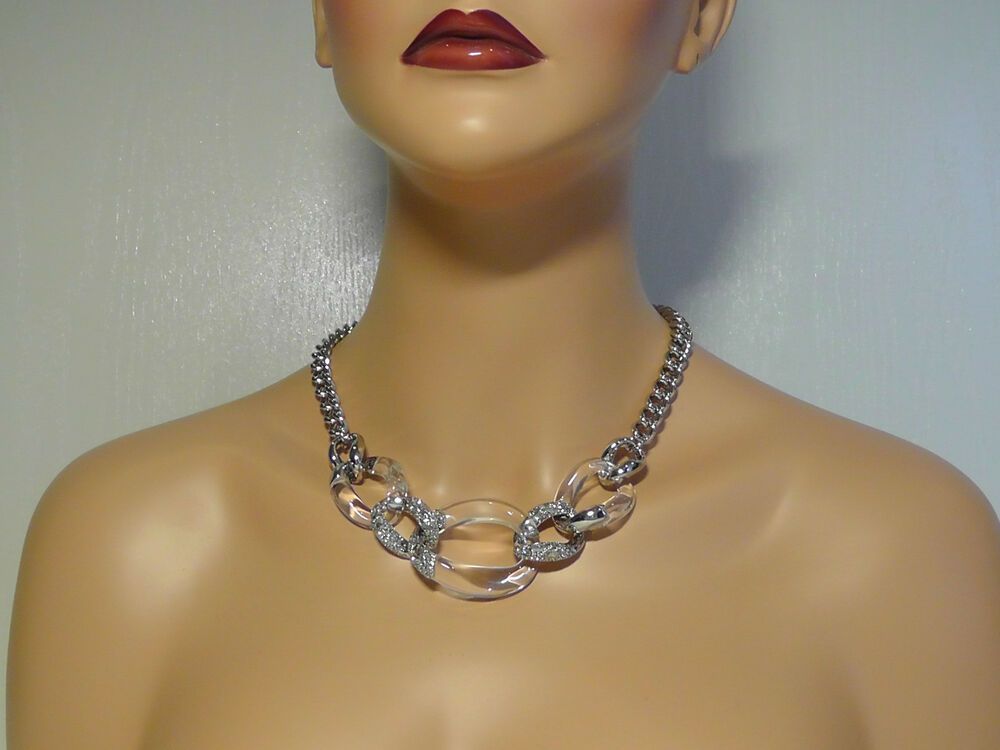 Alexis Bittar Clear Lucite Amp Crystal Curb Chain Necklace