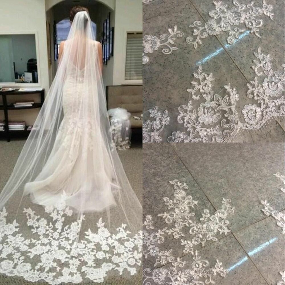 New 1Layer White Ivory Cathedral Length Lace Edge Bride Wedding Bridal Veil Comb