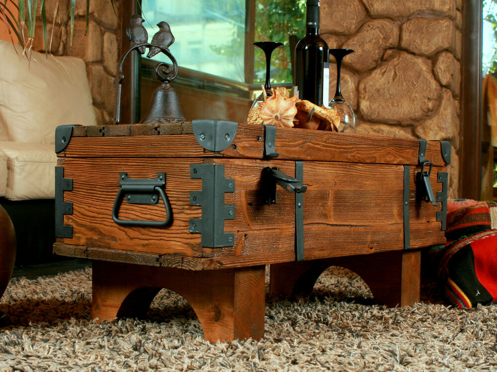OLD TRAVEL TRUNK Coffee Table Cottage Steamer Trunk PINE CHEST Vintage ...