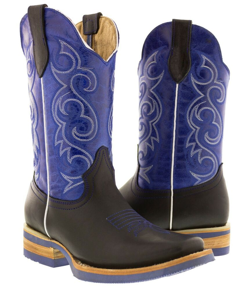s black blue western leather cowboy boots rodeo