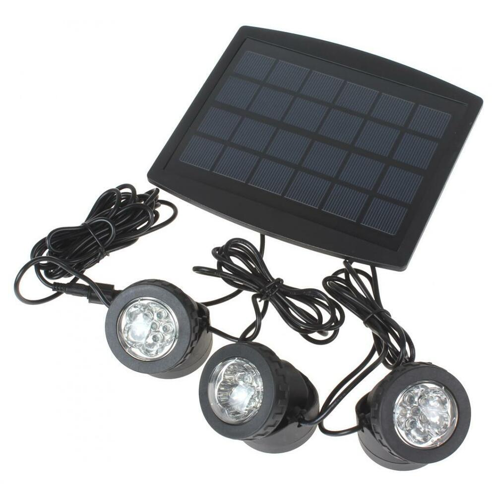3 X 6white Light Leds Waterproof Solar Powered Garden Lamp