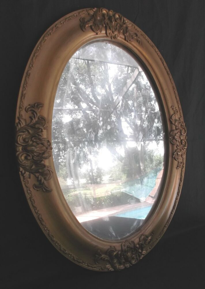 antique oval bubble  domed  convex glass w   24x18 carved wood frame wall mirror