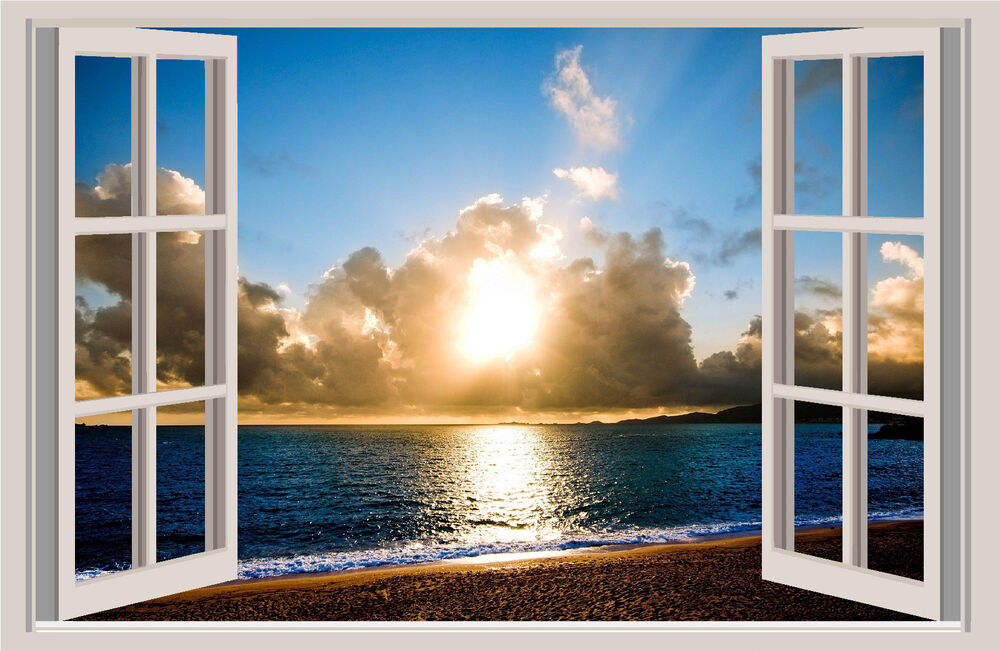 Beach Sunset Window View Repositionable Color Wall Sticker