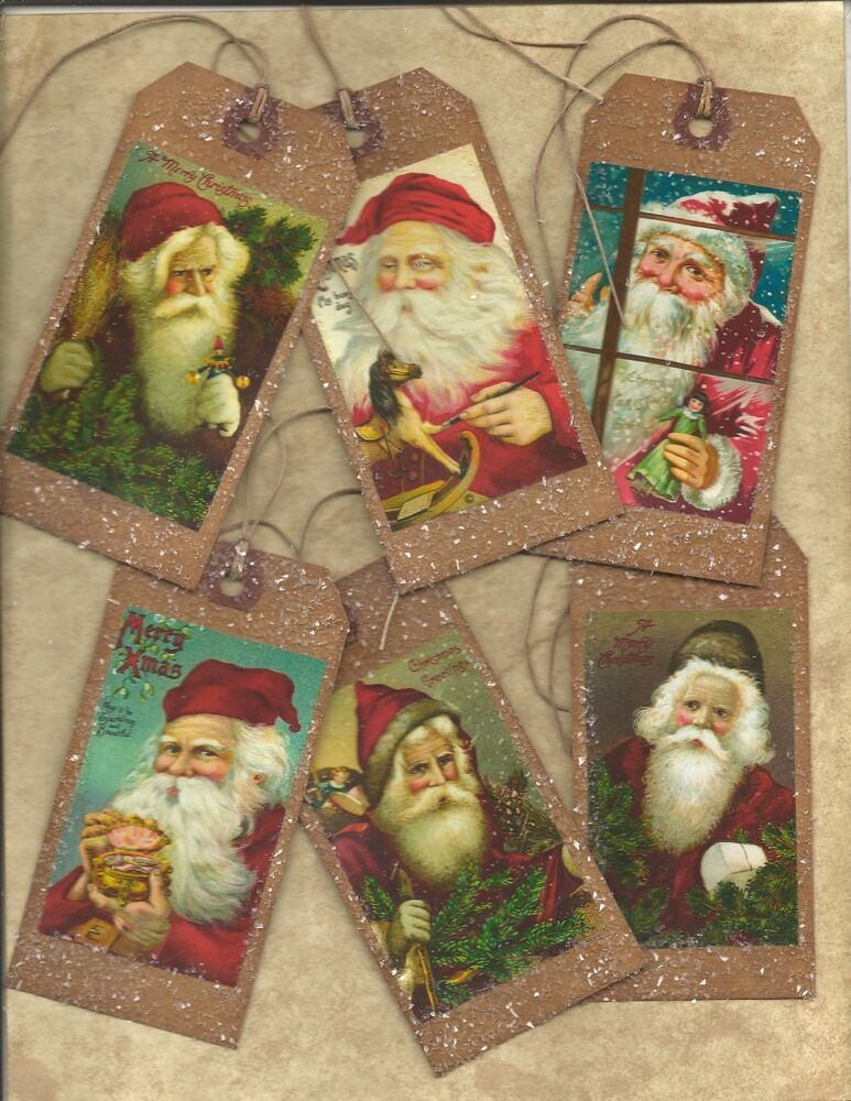 Vintage christmas tags primitive grungy special hang