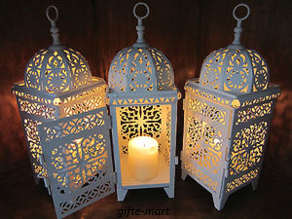 8 lot white moroccan scrollwork lantern candle holder