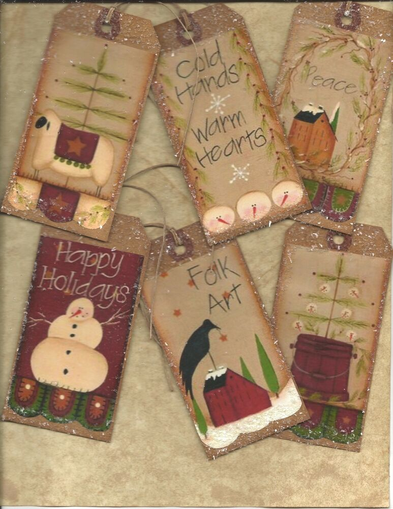 Christmas primitive vintage grungy tags folk hang