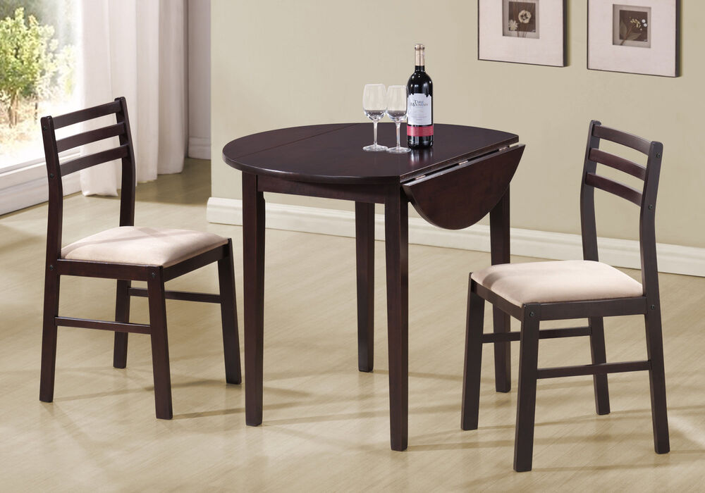 Monarch cappuccino 3pcs dining set w a 36dia drop leaf for Kitchen set new leaf