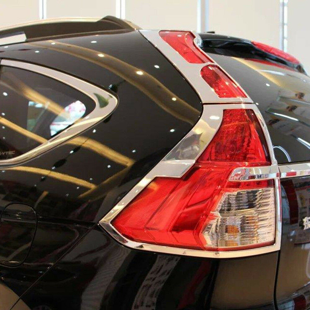 for honda crv cr v 2015 2016 chrome rear tail lights lamp covers bezel trim 4pcs ebay. Black Bedroom Furniture Sets. Home Design Ideas