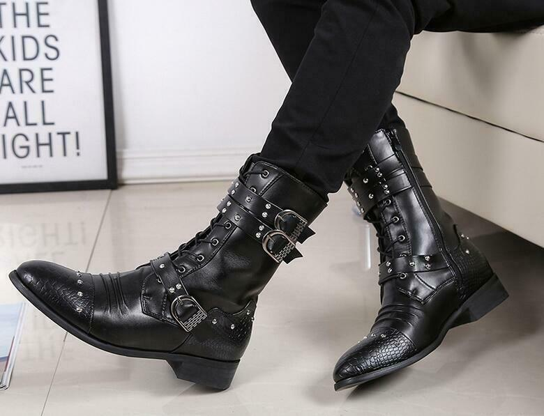 Mens Ankle Boots Studded Rivet Military Buckle Pointy Toe