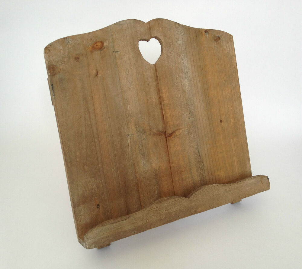 Wooden Heart Cookery Cook Book Stand Recipe Holder Rustic ...