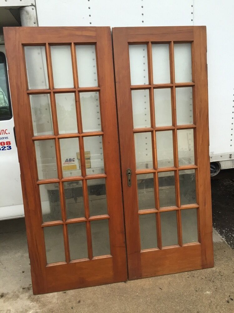 D 24 One Pair Antique French Doors Walnut Or Cherry With