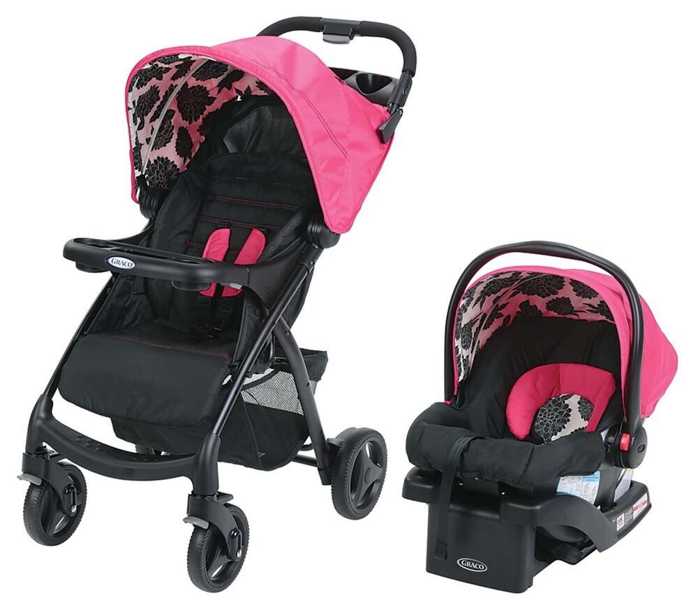 graco verb click connect stroller travel system snugride infant car seat azalea ebay. Black Bedroom Furniture Sets. Home Design Ideas
