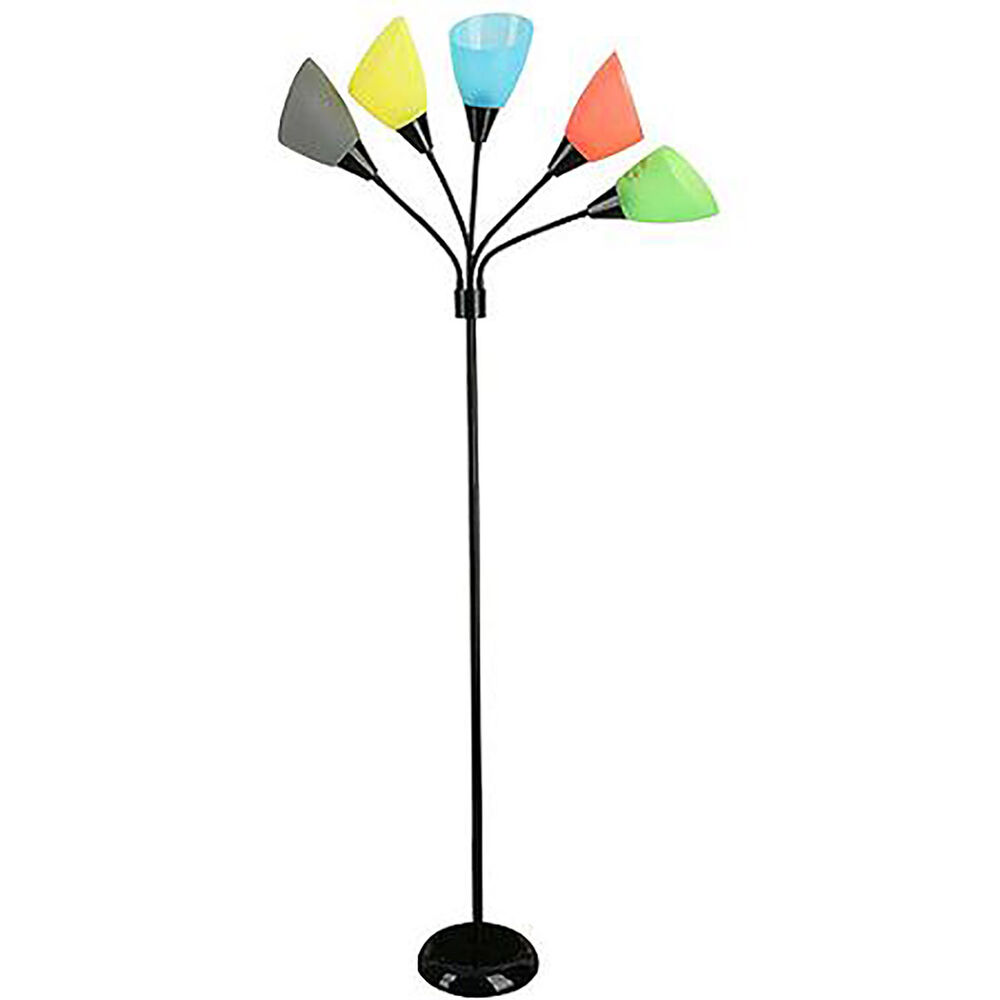 Multi Color Floor Lamp 5 Light Teen Kid Room Dorm Bedroom