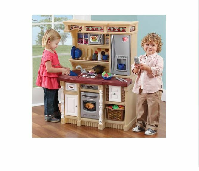 kids pretend play kitchen set with electronic sounds toddler cooking toy new ebay. Black Bedroom Furniture Sets. Home Design Ideas