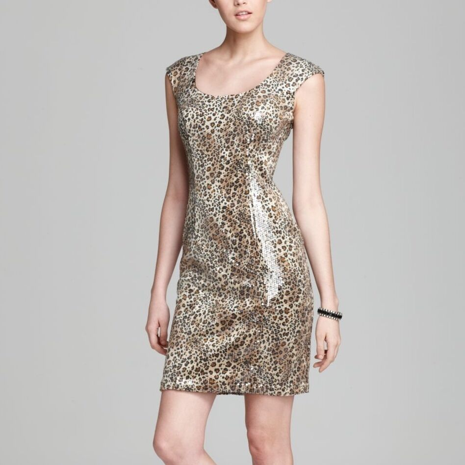 ... Wong $416 Leopard Print Sequin Cocktail Formal Dress. 6 Small | eBay