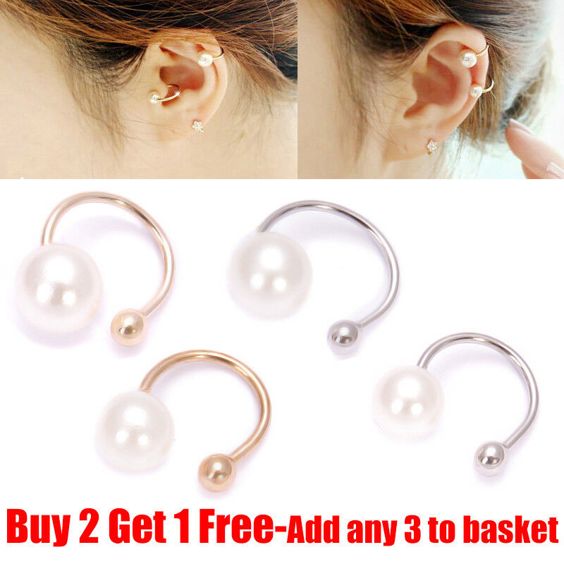 clip on cartilage earrings 1 pair clip on pearl earring cartilage ear cuff 152