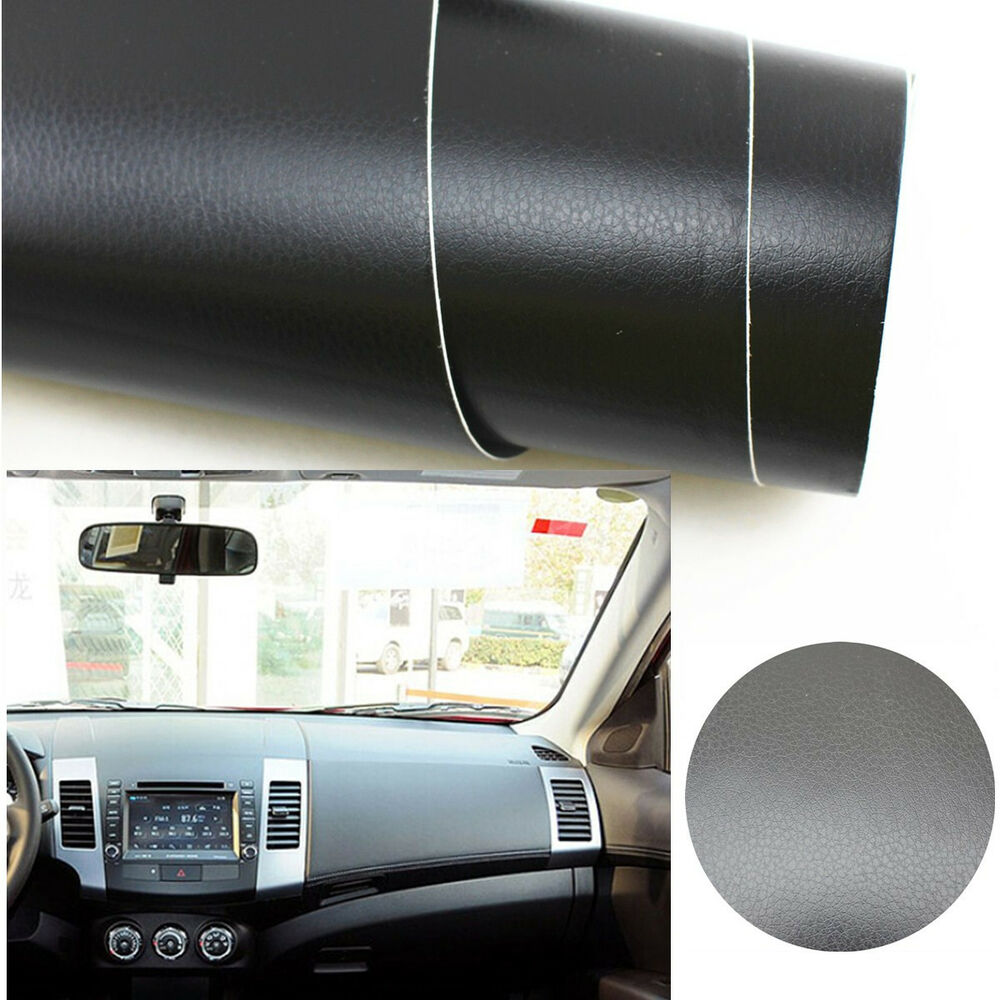 3d black leather texture car suv interior trim stretched vinyl film wrap sticker ebay. Black Bedroom Furniture Sets. Home Design Ideas