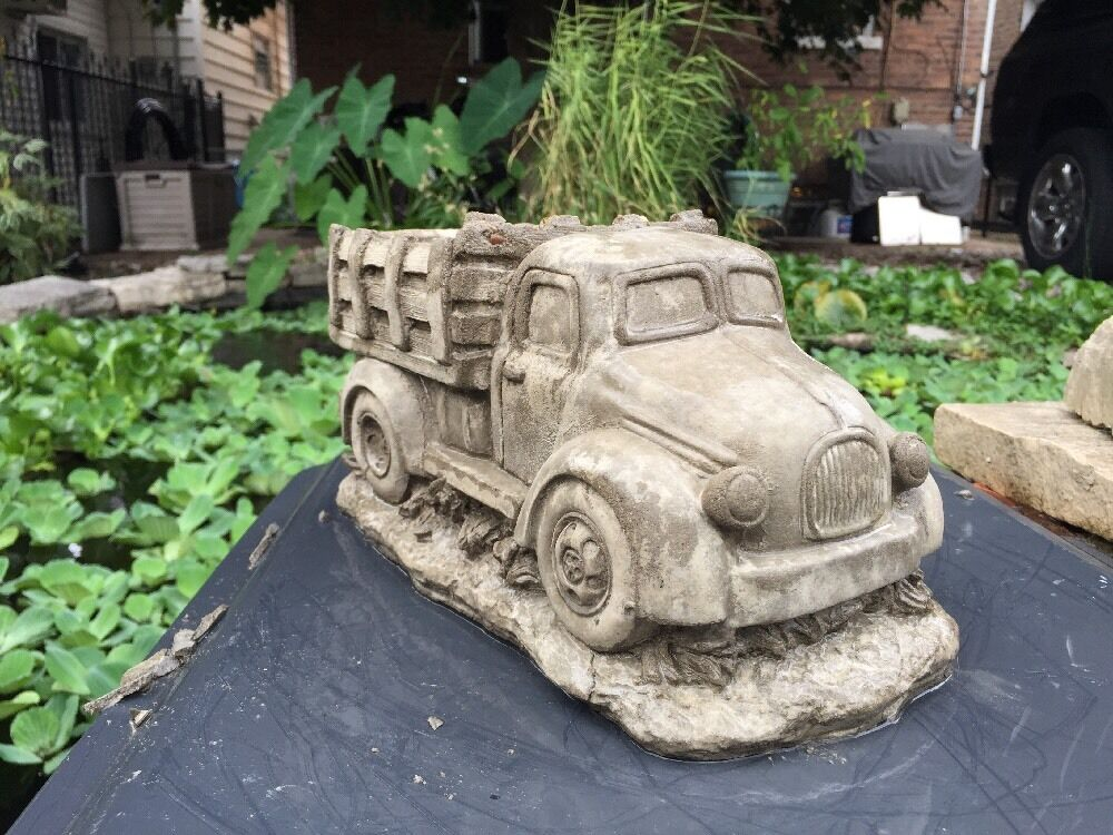Pickup Truck Planter Gray Cement Statue Concrete Lawn Ornament Decoration  Ebay Cement Cloth Garden Ornaments
