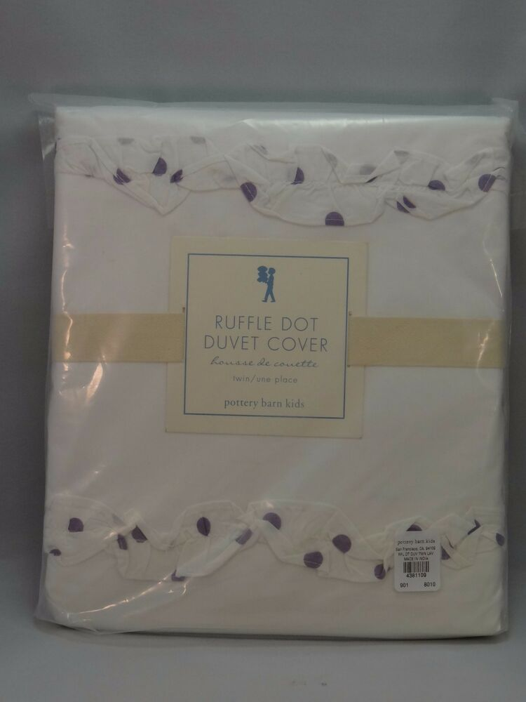 New Pottery Barn Kids Ruffle Dot Duvet Cover Twin White