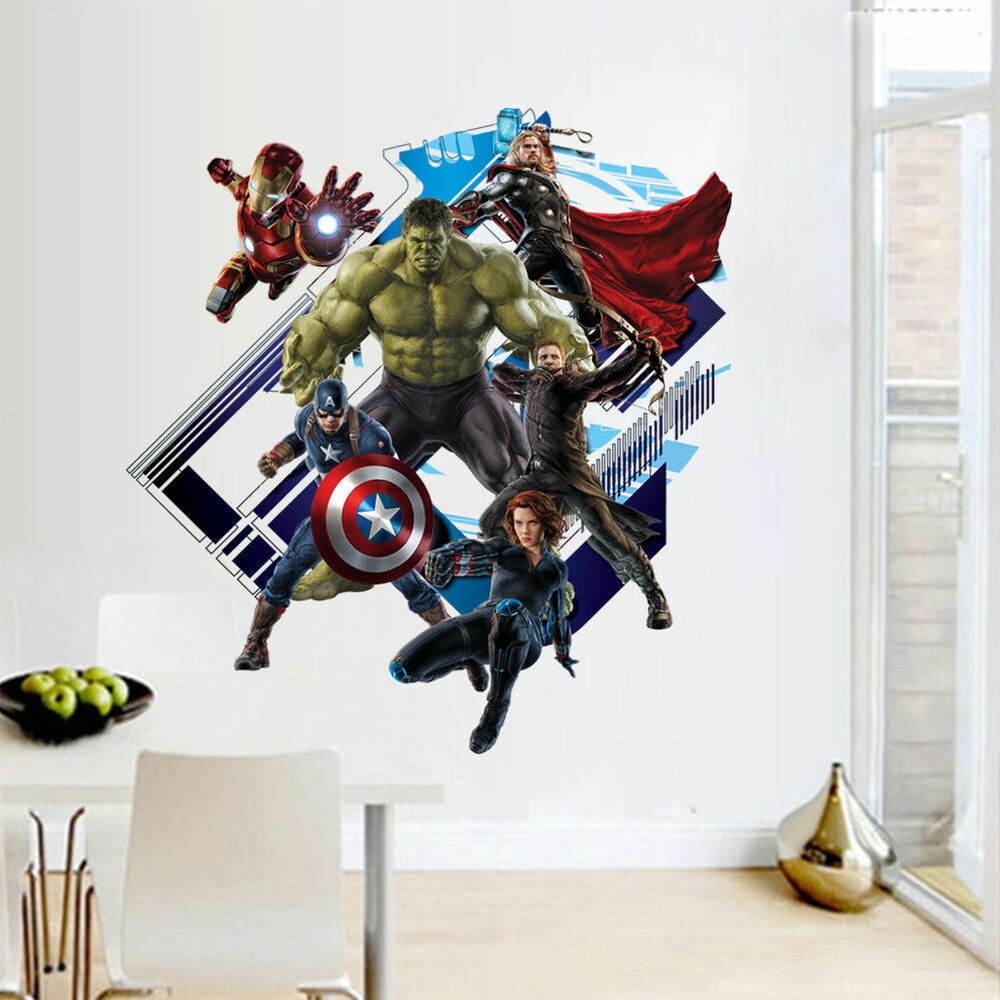 Marvel the avengers wall sticker vinyl decal home deco art for Deco mural stickers