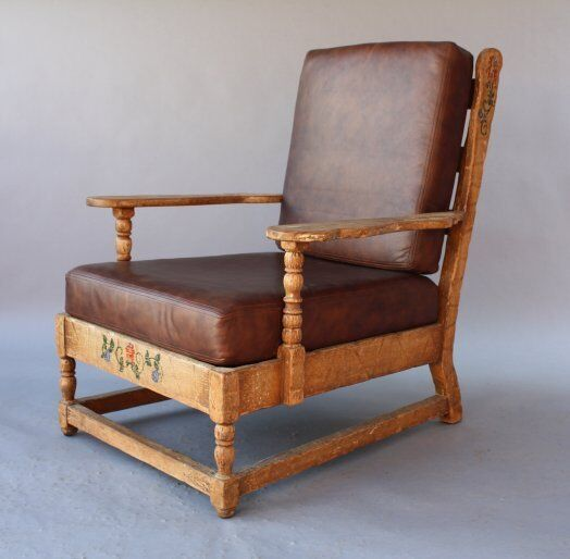 1930s Monterey Rancho Armchair Leather Antique Club Chair