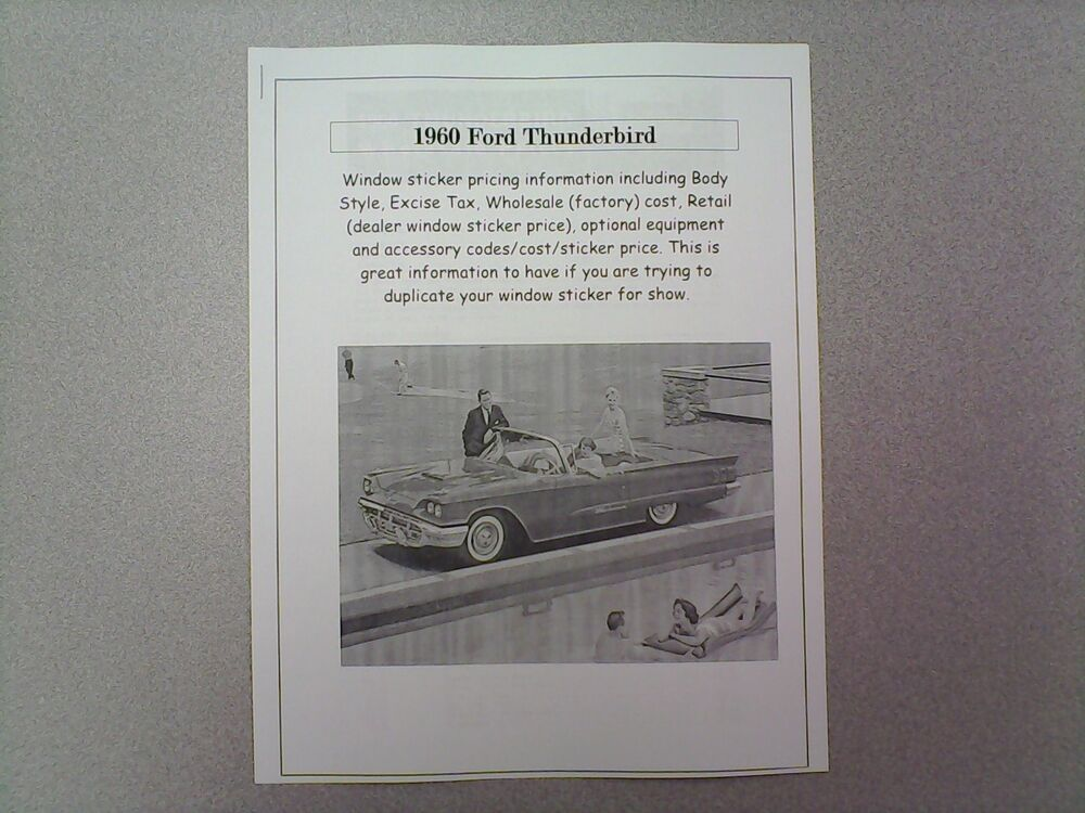 Ford Window Sticker >> 1960 Ford THUNDERBIRD factory cost/dealer sticker prices for car & options $ (60 | eBay
