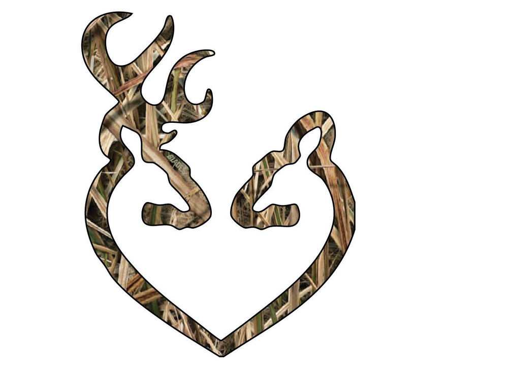 Camo Deer Heart Buck Hunting Browning Realtree Truck Car