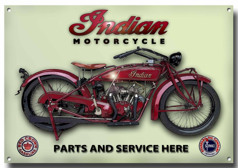 Indian motorcycle parts and service enamelled metal sign for Ebay motors indian motorcycles