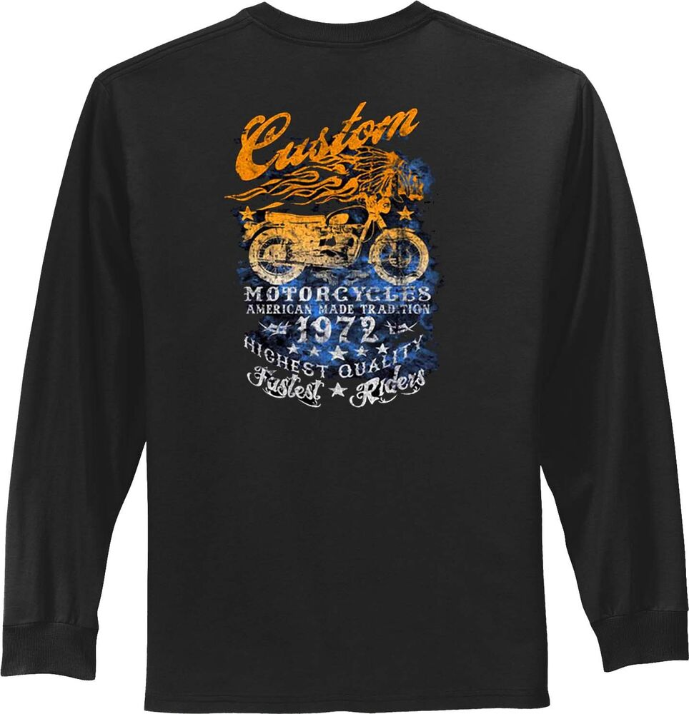 Biker t shirts vintage motorcycle retro mens long sleeve for Men s tall long sleeve shirts