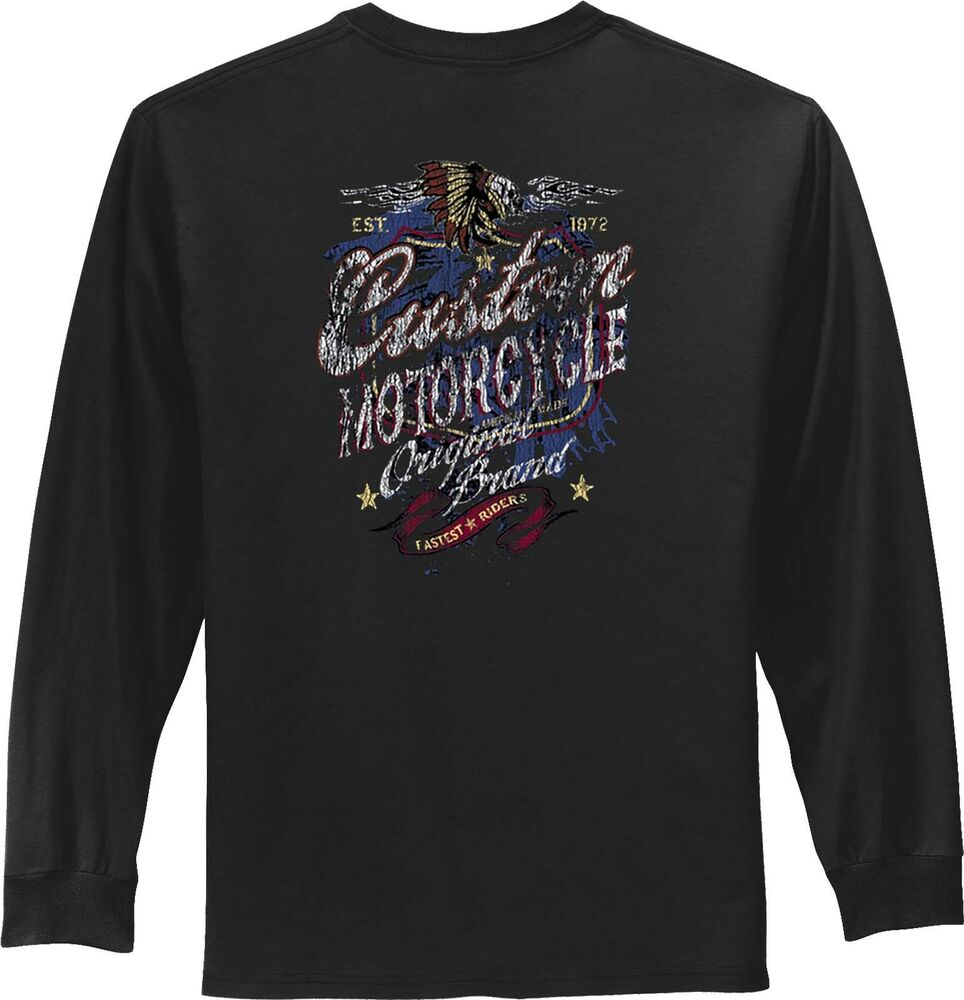 Biker t shirt retro motorcycle vintage mens long sleeve for Retro long sleeve t shirts