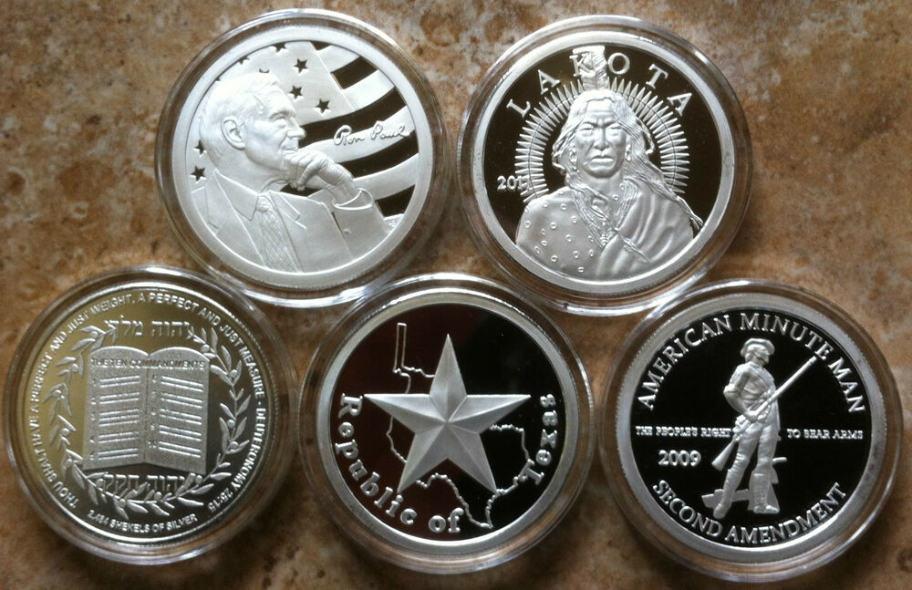5 1oz 999 Silver Rounds Coin Ron Paul Lakota 2nd Amendment