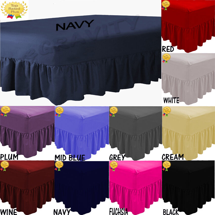 New Plain Fitted Valance Sheet Poly-Cotton Bed Sheet Single//Double//King//S-king