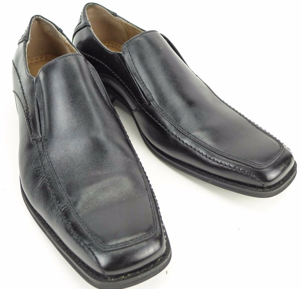 joseph abboud size 11 m mens black leather slip on loafers