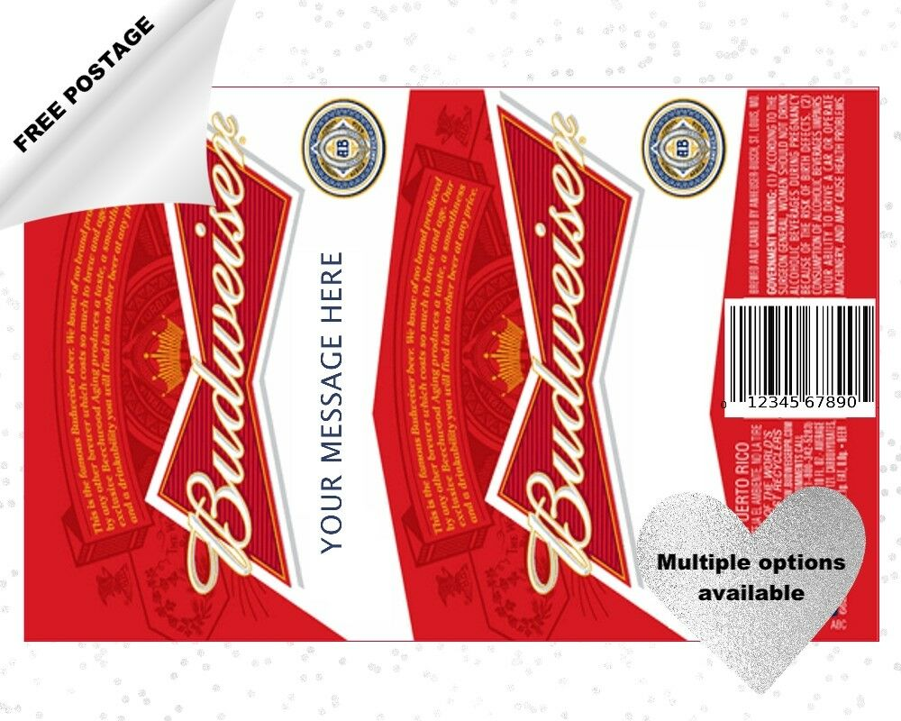 budweiser bud beer bottle can labels icing cake topper can be personalised ebay. Black Bedroom Furniture Sets. Home Design Ideas