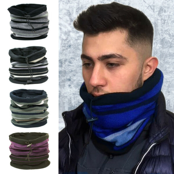 MENS WINTER ADJUSTABLE NECK WARMER SNOOD SCARF WITH WARM SOFT FLEECE LINING