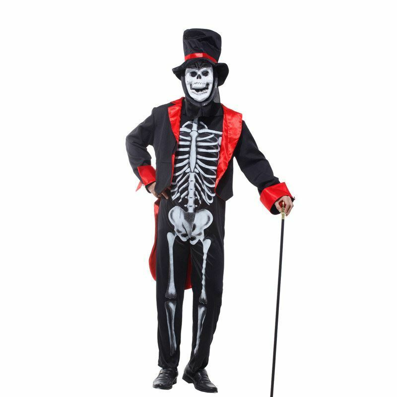 Mens Skeleton Skull Day of the Dead Fancy Dress Bond ...