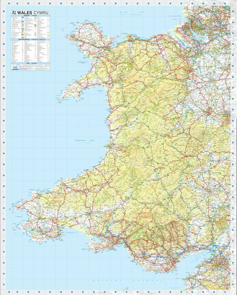 Wales Road Map by A-Z Maps (Wall Map, Paper, Road Map 2018) | eBay