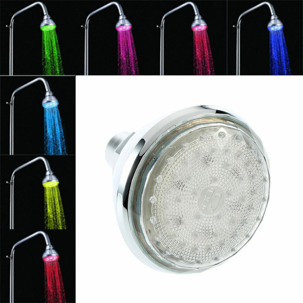 Romantic 7 color change led light shower head water bath for Childrens shower head