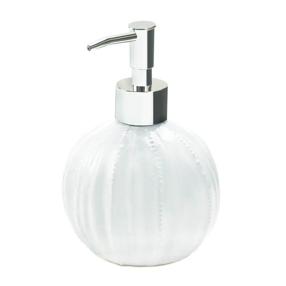 White ceramic sea urchin ocean beach liquid soap dispenser for Liquid soap dispenser for bathroom