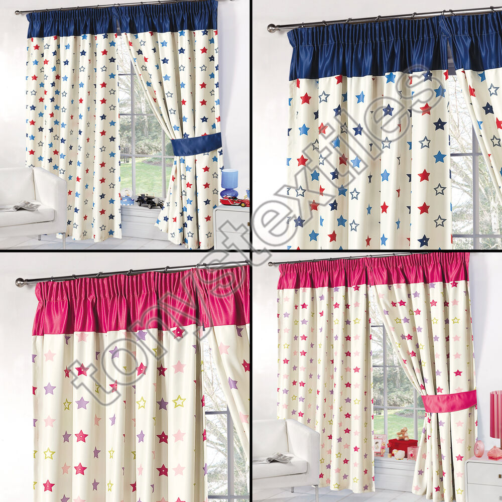 Stars supersoft kids childrens ready made thermal blackout for Childrens curtains uk